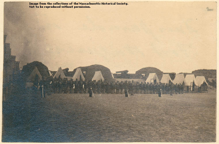 Photograph of union forces holding a dress parade in the occupied Fort Wagner