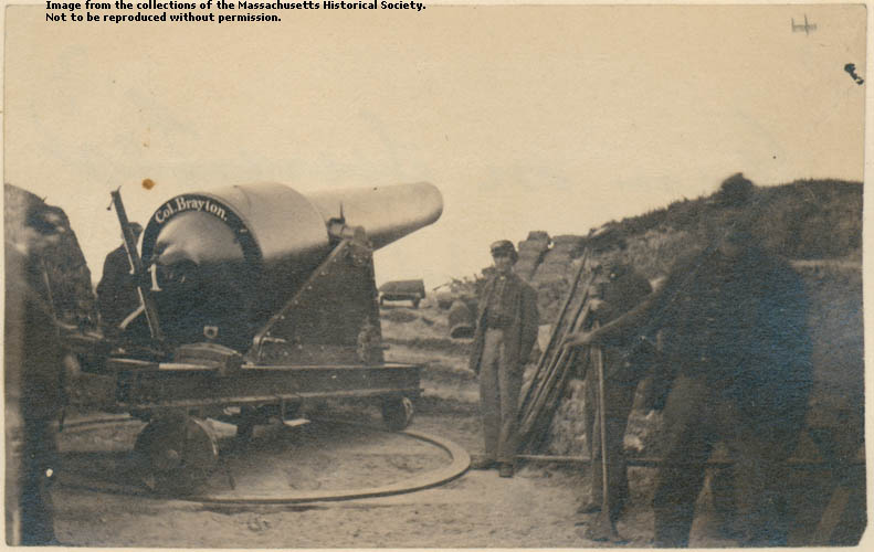 Photograph of a large gun on Morris Island