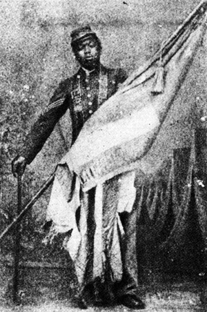 Picture of William Harvey Carney with the battle flag